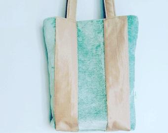 Jade Green and Latte Coloured Handmade Tote Bag