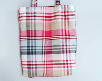 Fun, Handmade, Pink Tartan Tote Bag