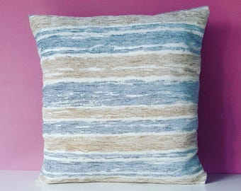 Blue and Oatmeal Striped Cushion cover