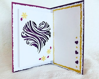 Personalized feather heart card