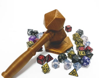 D20 DnD dice Judge Gavel   Dungeons and Dragons   Pathfinder   RPG   Dungeon Master   Polyhedral Dice   Custom Dice   Dice Box  