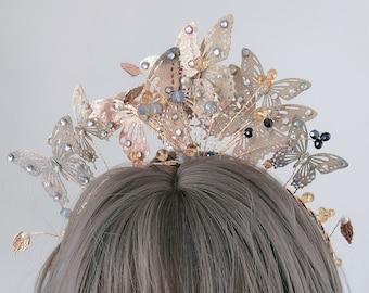 Women BOHO Retro Bridemaid Party Gold color Leaf hairpiece tiara Crown headband PROP hair band accessory Race Fascinator Hoop