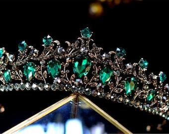 Women Retro Green Emerald Crystal Bling Fairy Bride Wedding Rhinestone Prom Function Fancy Party Tiara Crown Hair band Headband