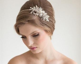 Women Party Bride Wedding White Pearl Crystal flower headpiece headwear Vine Hair head accessory Fascinator Headband hoop