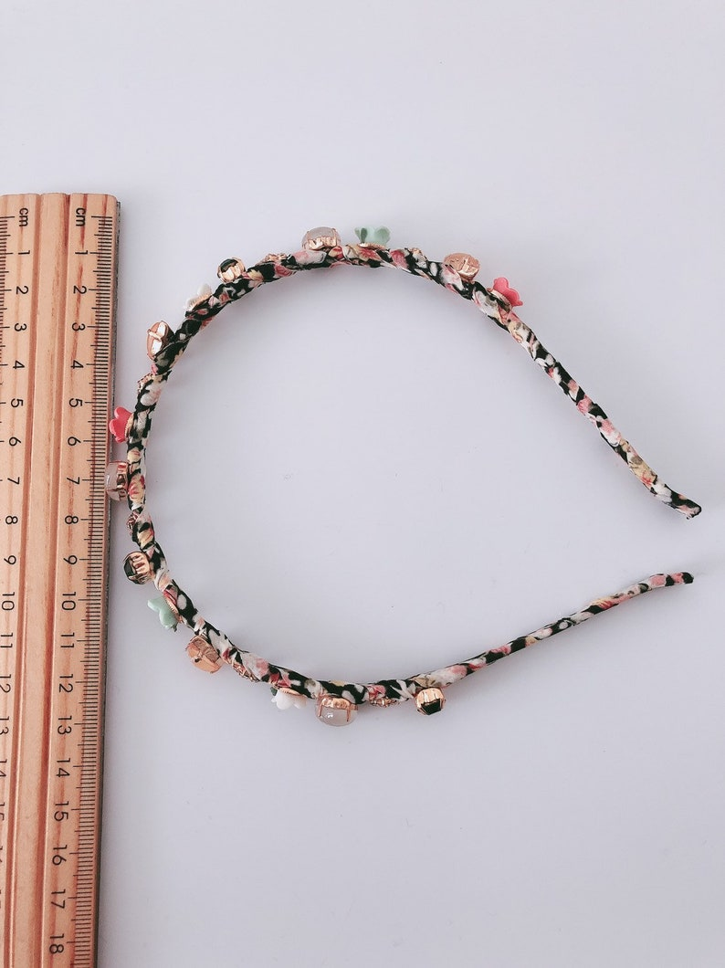 Women Floral Black Cloth wrapped Glasses Jade stone Hair Head Band Hoop Headband Accessory Jewelry headwear fascinator