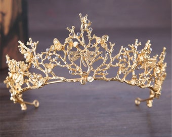 Women Lady Bride Retro Gold color Metal Butterfly Dragonfly Fairy Prom Function Costume Party Tiara Crown PROP Hair Headband