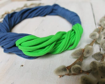 Textile casual blue green necklace Knit two color bib necklace Bijou for every day Tshirt yarn necklace Soft twisted necklace