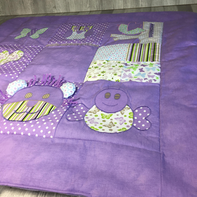 Couverture de couette bébé occupé, activité éducative sensoriel jouet tapis de jeu en violet