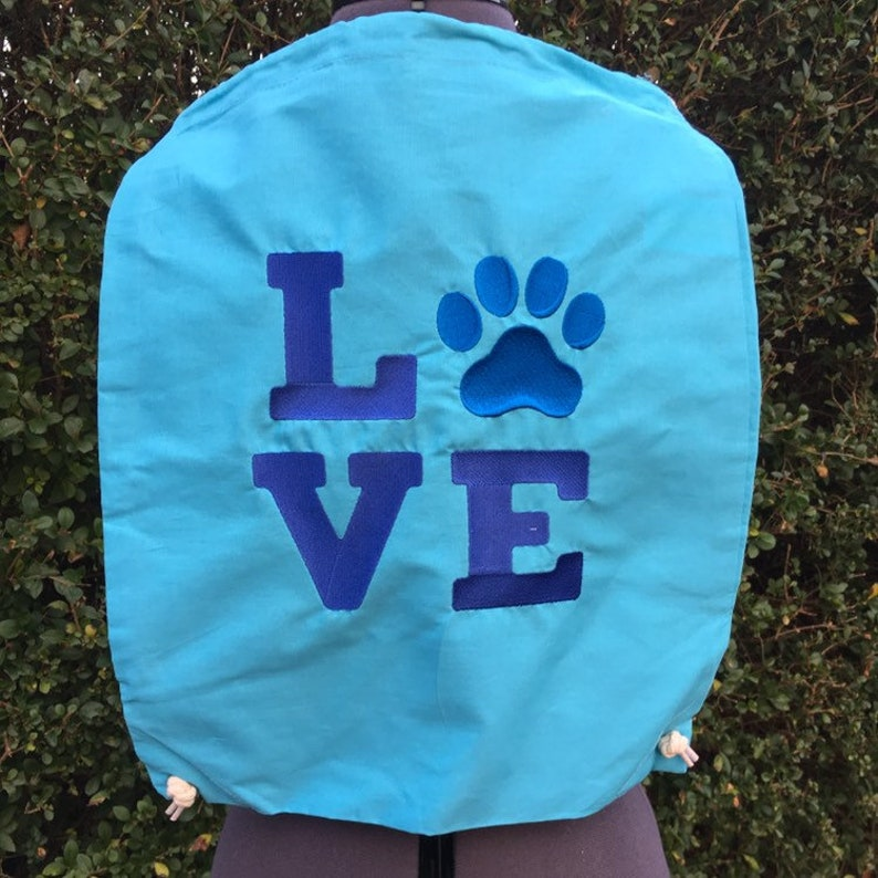 Christmas gift Blue bag Drawstring backpack Embroidered drawstring bag Ready to ship 100/% cotton backpack Love paw