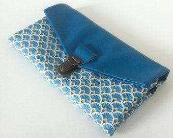 compagnon de sac/portefeuille complet femme avec fermoir en similicuir bleu pétrole/coton enduit saki/japonais bleu pétrole/noir/or/blanc