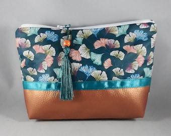 trousse maquillage/accessoire de sac femme/coton enduit imprimé ginkgo bleu/or/orange/turquoise/blanc/similicuir cuivré/cadeau femme