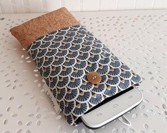 9fe8a6722a7e5 housse étui pour téléphone portable étui pour lunettes coton enduit  éventails or blanc bleu noir tissu liège cuir Cork liège du Portugal