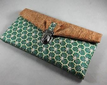 portefeuille en liège/portefeuille femme/coton enduit imprimé riad/vert/or/blanc/liège pailleté or/cadeau femme