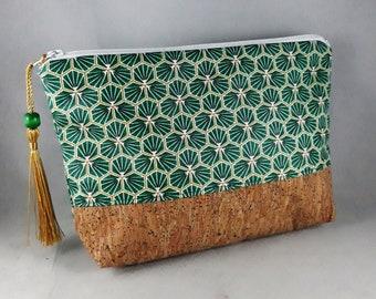 pochette/trousse maquillage/accessoire de sac/cadeau femme/coton enduit imprimé riad vert/or/blanc/liège naturel pailleté