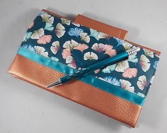 porte-chéquier en France/avec double porte-carte et porte crayon/coton enduit ginkgo bleu/or/blanc/orange/turquoise/similicuir cuivré