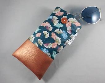 étui en France/téléphone portable/étui pour lunettes /coton enduit ginkgo/bleu/orange/turquoise/blanc/similicuir cuivré/cadeau femme