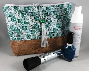 trousse maquillage/cadeau femme/coton enduit imprimé fleurs/vert/bleu/gris/blanc/liège naturel pailleté or