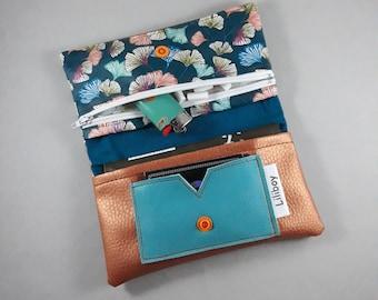 blague à tabac/portefeuille/coton enduit fleurs japonaises gingko vert/bleu/orange/blanc/similicuir cuivré/similicuir turquoise