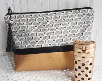 trousse à maquillage/pochette femme/ coton enduit imprimé éventails gris/noir/blanc/or et similicuir or/cadeau pour femme
