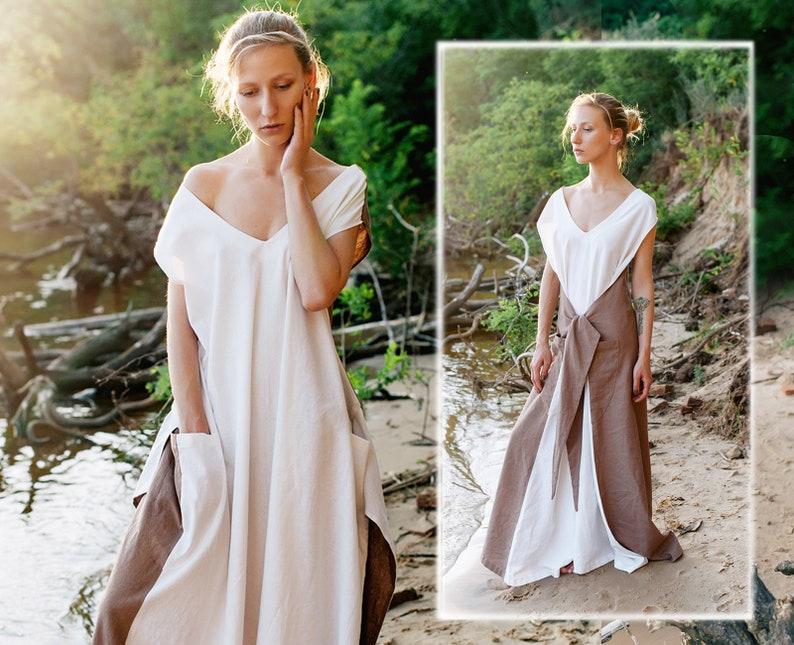 cef541afada Linen dress color block dress white   beige maxi dress