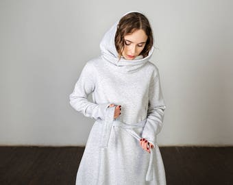 Warm maxi dress with hood, oversize dress, warm hooded, grey dress, three colors available