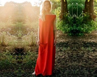 Linen dress Kshama, Red maxi dress, dress-meditation, long dress, yoga dress, boho dress