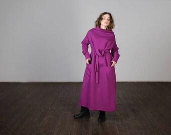 Warm dress, oversize dress, warm dress with a turtleneck, blue dress, many colors available