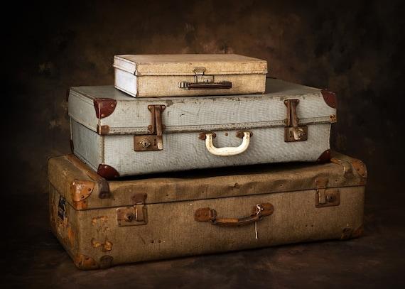 Vintage Suitcase Display Props Set of 3, Vintage S