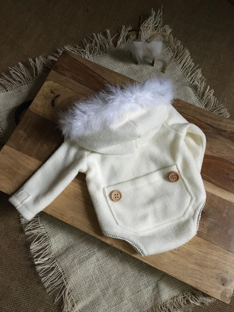 Newborn Photography White Hooded Romper Christmas Baby Shower Gift Newborn Christmas Fleece Newborn Hooded Romper Newborn Photo Props