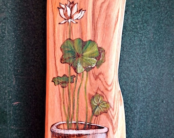Pyrography on Olive wood, green and small plant eco-friendly