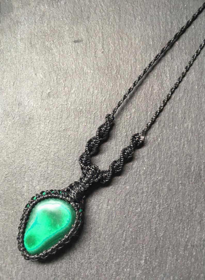 malachite jewellery Malachite macrame necklace crystal necklace mens necklace travel gift vegan gift macrame net necklace