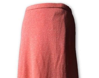 Bright, orange sherbet coloured vintage midi skirt. Approx size 12