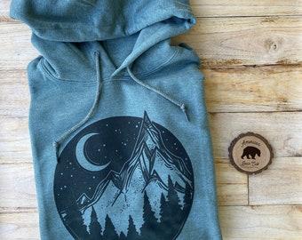 Mountain Hoodie| Hoodies for Women| Plus Size Clothing available| Camping Hoodie| Hooded Sweatshirts| Outdoorsy Sweatshirt| Adventure Hoodie