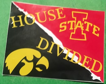 House Divided Iowa State/Iowa vinyl decal