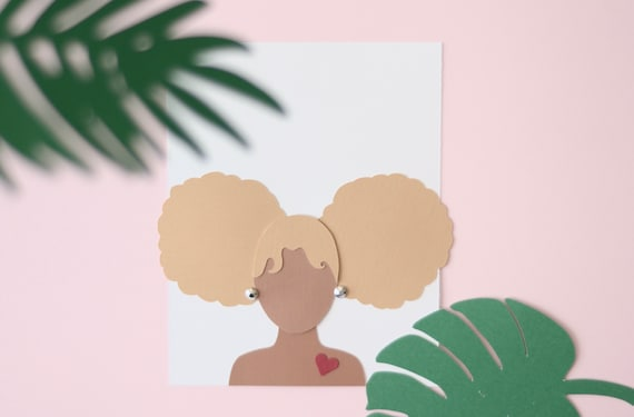Afrocentric greeting card afro puffs etsy image 0 m4hsunfo