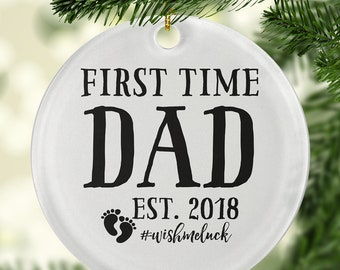 first time dad est circle ornament new dad to be circle ornament new dad ornament dad ornaments dad christmas ornament