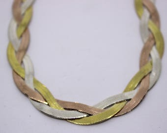 Braided Necklace, SILVER plated