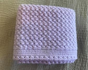 Crochet Baby Blanket, Light Purple