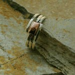 silver ring with copper. silver and copper ring.mixed metals ring.