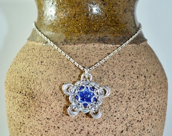 Chainmaille Captured Swarovski Rivoli Necklace