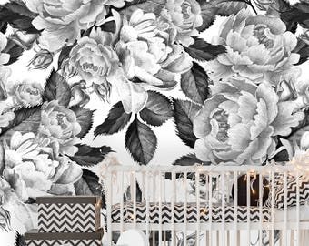 Removable Wallpaper Mural Peel Stick Self Adhesive Peonies Flowers Watercolor Black And White