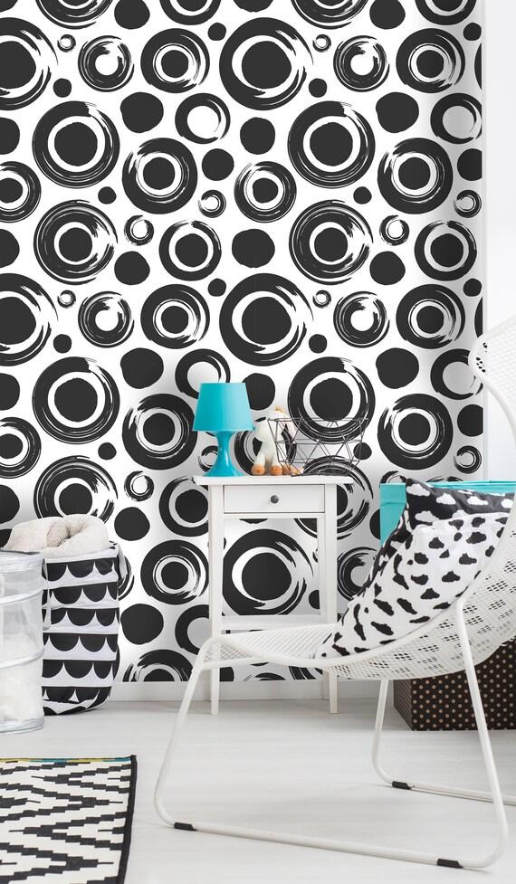 Fond D écran Amovible Murale Peel Stick à Motif De Cercles Noir Et