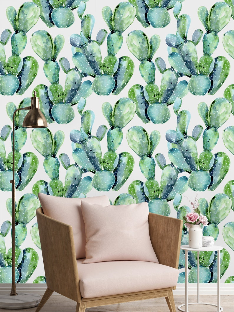 Removable Wallpaper Mural Peel & Stick Watercolor Cactus image 1