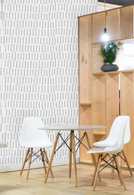 Removable Wallpaper Mural Peel Stick Geometric Black And White Sticks Pattern Scandinavian Wallpaper