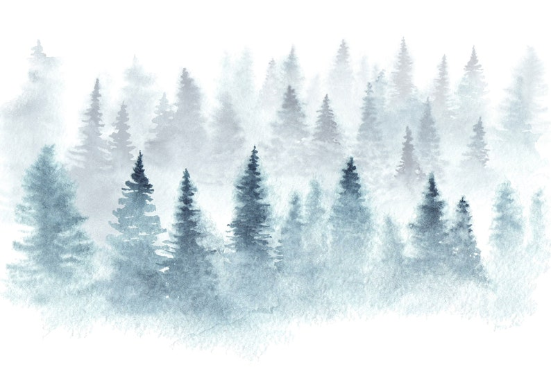 Removable Wallpaper Mural Peel /& Stick Hand Drawn Landscape of Foggy Forest