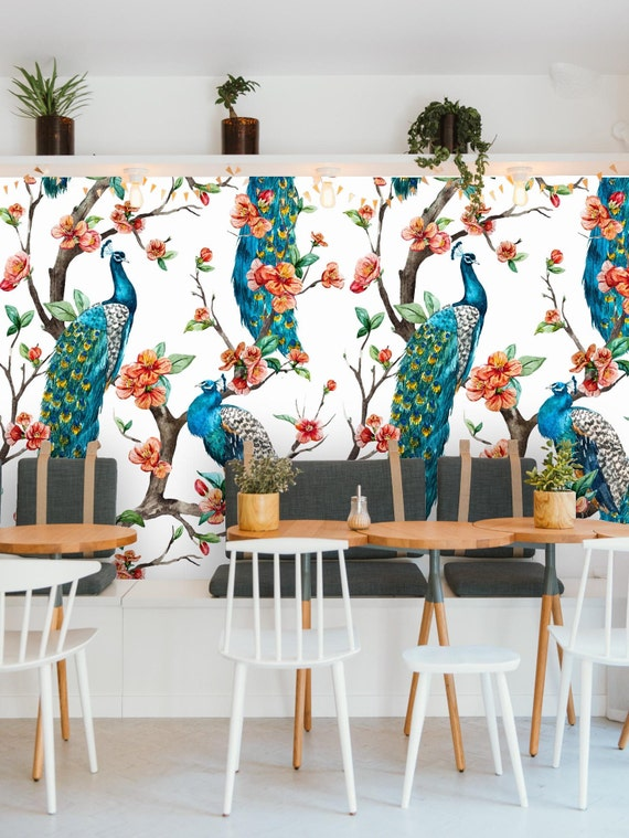 Removable Wallpaper Mural Peel Stick Peacock Self Adhesive Etsy