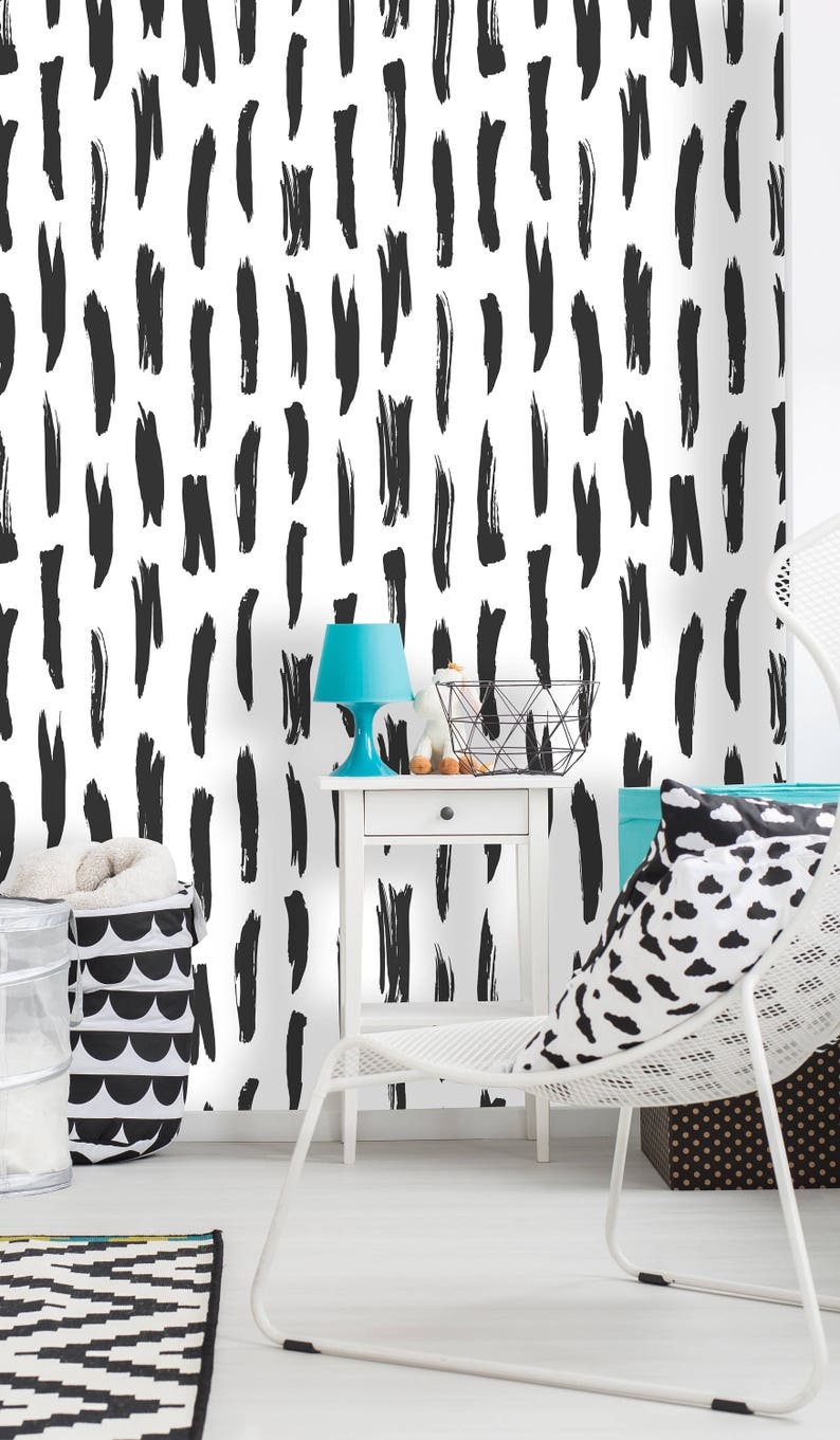 Removable Wallpaper Mural Peel /& Stick Black and White Strokes