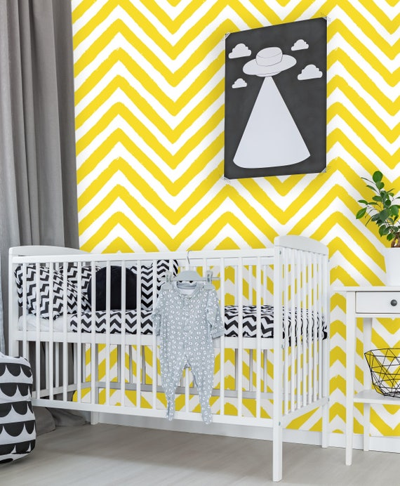 Removable Wallpaper Mural Peel Stick Zigzag Print Yellow And Etsy