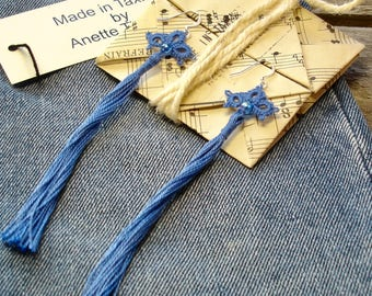 Tassel earrings tatted in jeans blue cotton thread, Denim, Origami gift packaging included, Handmade