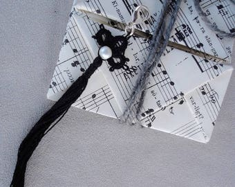 Tassel pendant  with origami gift packaging included, handmade, tatted, black cotton thread